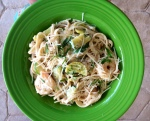 Garden Vegetable and Shrimp Alfredo